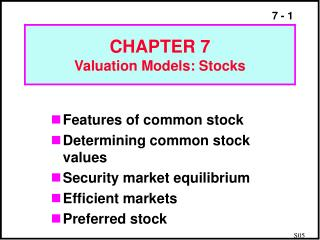 CHAPTER 7 Valuation Models: Stocks