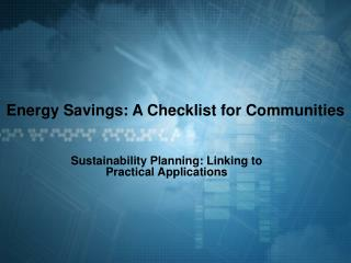Energy Savings: A Checklist for Communities