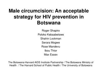 Male circumcision: An acceptable strategy for HIV prevention ...