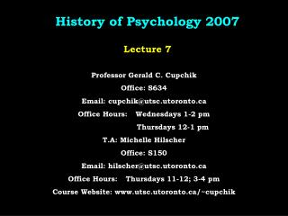 History of Psychology 2007  Lecture 7