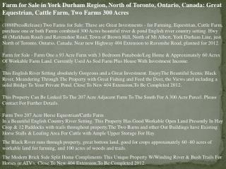 Farm for Sale in York Durham Region