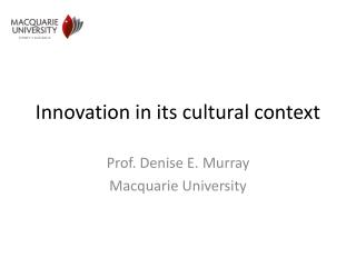 Innovation in its cultural context