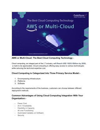 AWS is leading, but Multi-Cloud will be the future - CodeStore Technologies