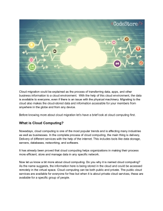 Knowing More About Cloud Migration Services and Integrated Solutions - CodeStore