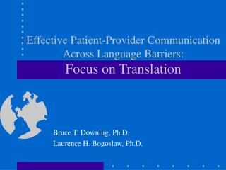 Effective Patient-Provider Communication Across Language Barriers: Focus on Translation