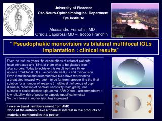 University of Florence Oto-Neuro-Ophthalmological Department Eye Institute