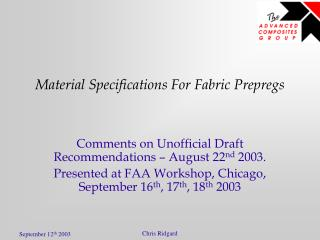 Material Specifications For Fabric Prepregs