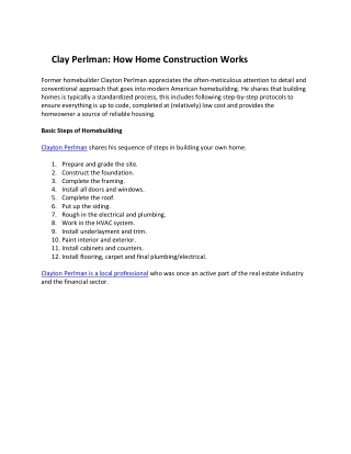 Clayton Perlman: How Home Construction Works