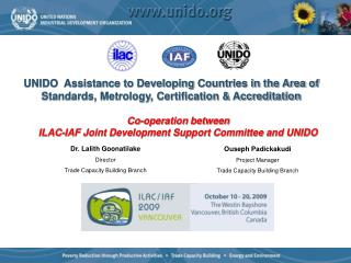 Co-operation between ILAC-IAF Joint Development Support Committee and UNIDO