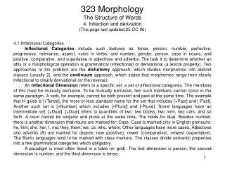 323 Morphology The Structure of Words 4. Inflection and derivation This page last updated 25 OC 06