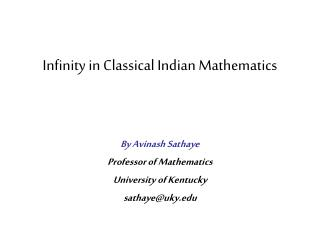 Infinity in Classical Indian Mathematics