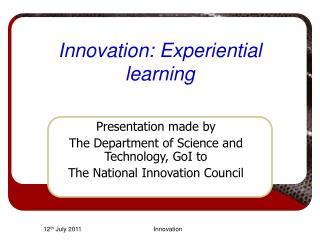 Innovation: Experiential learning