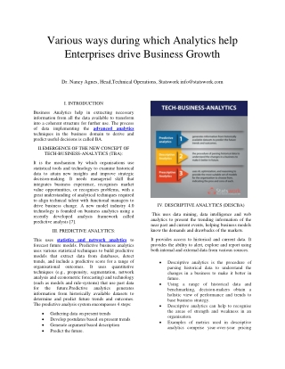 Various ways during which analytics help enterprises drive business growth – Stastwork