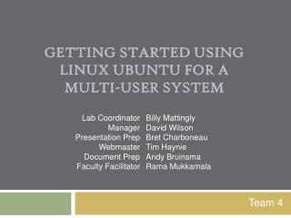 Getting Started Using  Linux  Ubuntu  for a  Multi-User System
