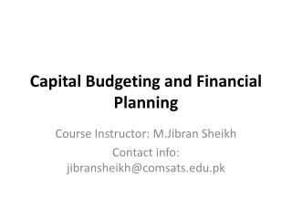 Capital Budgeting and Financial Planning
