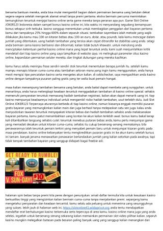 Game Slot Online JOKER123-7 Keadaan Yang Kalian Inginkan... Jelek