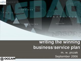 writing the winning business/service plan