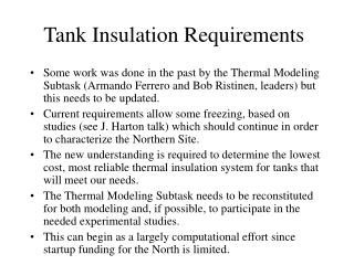 Tank Insulation Requirements