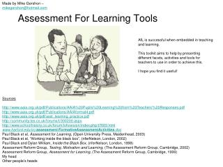 Assessment For Learning Tools