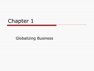 Globalizing Business
