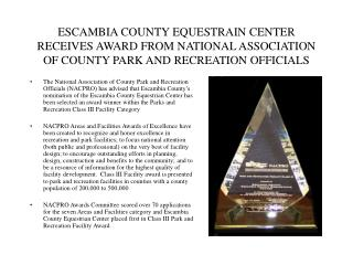 ESCAMBIA COUNTY EQUESTRAIN CENTER RECEIVES AWARD FROM NATIONAL ASSOCIATION OF COUNTY PARK AND RECREATION OFFICIALS
