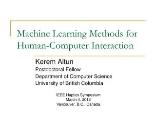 Machine Learning Methods for Human-Computer Interaction