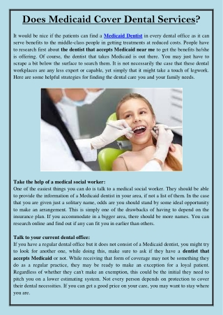 Does Medicaid Cover Dental Services