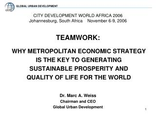 CITY DEVELOPMENT WORLD AFRICA 2006  Johannesburg, South Africa    November 6-9, 2006