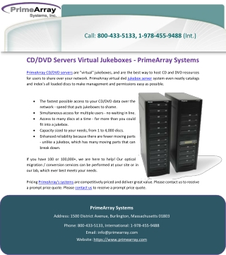 CD/DVD Servers Virtual Jukeboxes - PrimeArray Systems