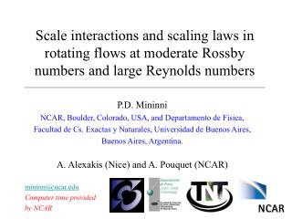 Scale interactions and scaling laws in rotating flows at moderate Rossby numbers and large Reynolds numbers