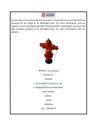 Fire Hydrant Hooseki.co.id