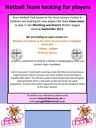 Netball Team looking for players