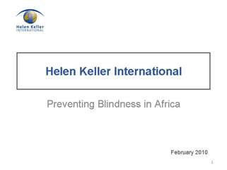 Helen Keller International: Preventing Blindness in Africa