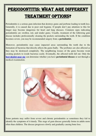 Periodontitis What Are Different Treatment Options