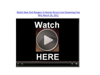 Watch New York Rangers Vs Boston Bruins Live Streaming Free