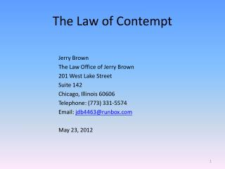 The Law of Contempt