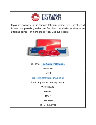 Fire Alarm Installation   Hooseki.co.id