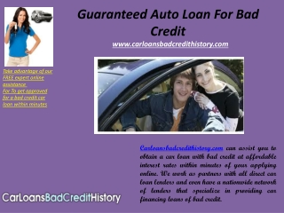 Guaranteed auto loan for bad credit