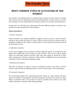 Most Common Types of Actuators in the Market