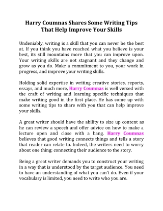 Harry Coumnas Shares Some Writing Tips That Help Improve Your Skills