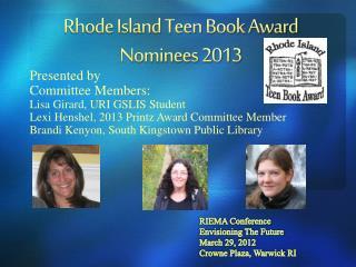 Rhode Island Teen Book Award Nominees 2013