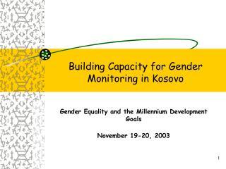 Building Capacity for Gender Monitoring in Kosovo