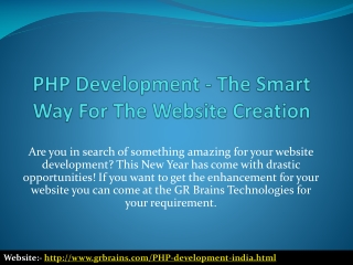 PHP Development - The Smart Way For The Website Creation
