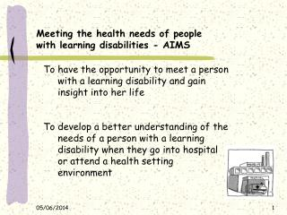 Meeting the health needs of people with learning disabilities - AIMS