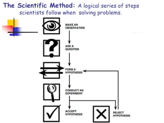 The Scientific Method: A logical series of steps scientists follow when solving problems.