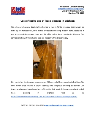 Cost effective end of lease cleaning in Brighton