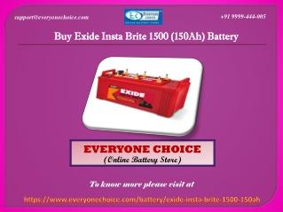 Buy Exide Insta Brite 1500 (150Ah) Battery