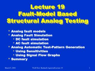Lecture 19 Fault-Model Based Structural Analog Testing