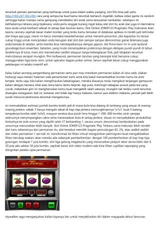 Info Slot Online JOKER123 Pragmatic Play Terbaik Intensitas Bukti Yang Memang Ak