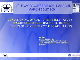 11 TH  HVACR CONFERENCE, KARACHI,  MARCH 25-27,2004